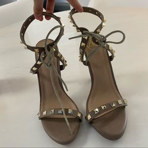 Nude faux leather rockstud strappy heel sandals
